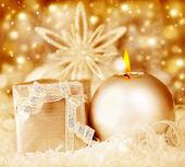 Golden Christmas decoration, holiday background — Stock Photo