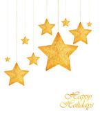 Golden stars Christmas tree ornaments — Stock Photo