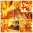 Golden collage of Christmas decorations — Foto de Stock