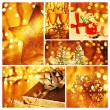Golden collage of Christmas decorations — Stock fotografie