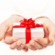 Hands holding beautiful gift box — Stock Photo