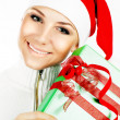 pretty santa girl closeup portrait — Stock Photo