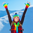 Happy cute girl playing in snow outdoor, Christmas winter holida — Stock Photo #7790460