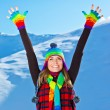 Happy cute girl playing in snow outdoor, Christmas winter holida — Stock Photo