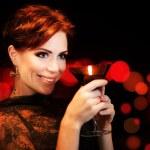 donna bella festa, celebrando la festa — Foto Stock