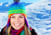 Cute girl having fun outdoor, Christmas winter holidays travel a — Stock Photo