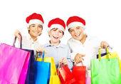 Happy Santa Jungs mit Geschenken — Stockfoto