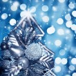 Beautiful silver Christmas tree decoration — Stock Photo