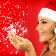 glad santa flicka — Stockfoto