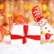 Holiday background with cute snowman - Stock Photo