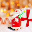 Holiday background with cute Santa decoration — Stockfoto