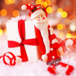 Holiday Christmas background with cute Santa decoration — Stock Photo