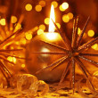 Golden Christmas candle - Stock Photo
