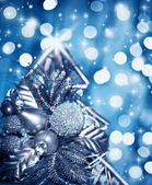 Beautiful silver Christmas tree decoration — Stock Photo