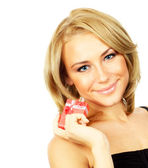Beautiful female holding gift — Stock Photo