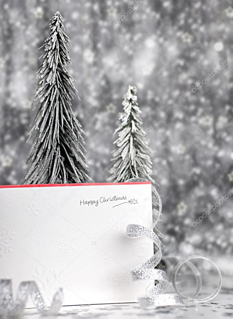 Happy holiday Christmas card background with blur lights, decoration & ornament — Stock Photo #7902604