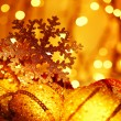 Golden Christmas tree decorations — Foto de Stock