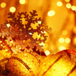 Golden Christmas tree decorations — Stock Photo