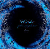 Dark blue winter decorative frame — Stock Photo