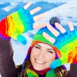 Happy smiling girl portrait, winter fun outdoor — Stock Photo #7940378