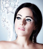 Snow queen, beautiful woman in Christmas style — Stock Photo