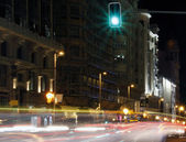Famous and typical street of Gran Via in Madrid at night — Stock Photo