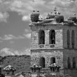 Stock Photo: Church tower in Manzanares el Real with storks