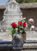 Old cemetery with granite sculptures — Stock Photo
