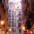 Night Historic buildings in the city of Madrid, Spain - Stock Photo