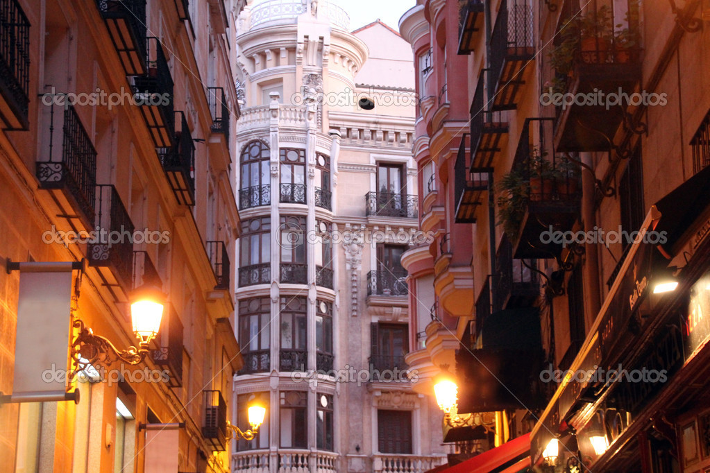 Night Historic buildings in the city of Madrid, Spain  Stock Photo #7686611