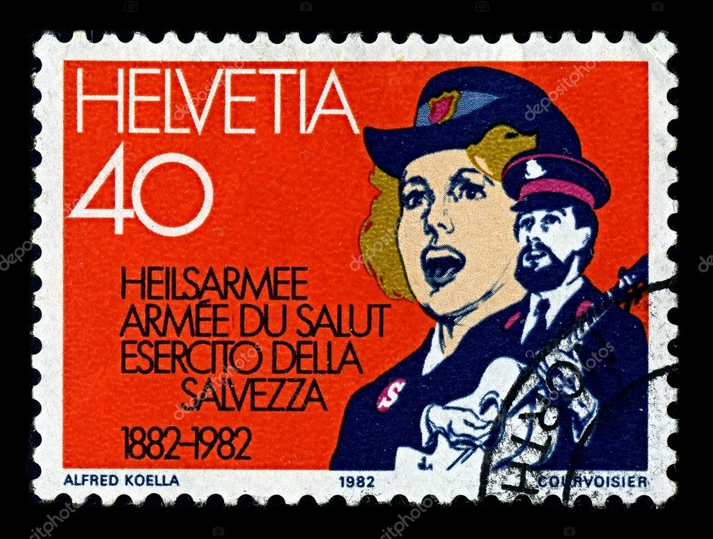 Switzerland-CIRCA 1982:A stamp printed in Switzerland shows image of The Salvation Army is a Protestant Christian church. — Stock Photo #6961572