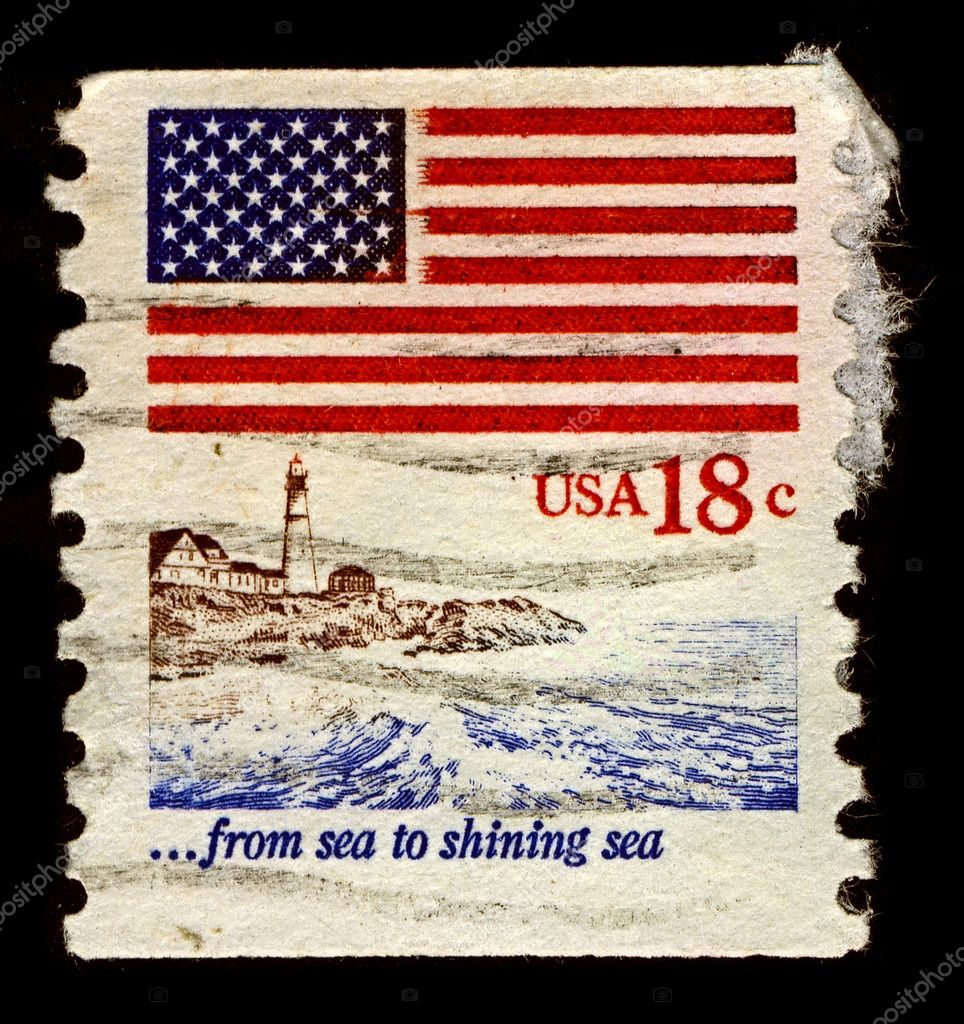 USA-CIRCA 1981:A stamp printed in USA shows image of Flag, Lighthouse, circa 1981. — Stock Photo #7245515