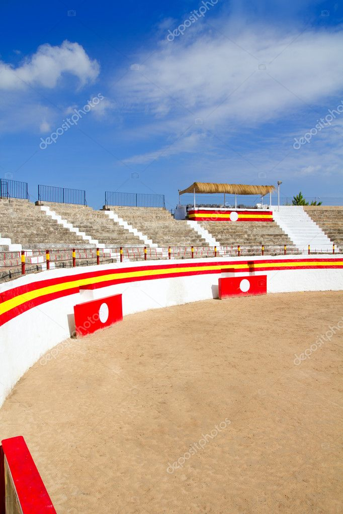 Alcudia Mallorca plaza de Toros bullring  under blue sky in Spain Balearic islands — Stock Photo #6822680