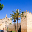 Alcudia Sant Jaume church near roman castle wall Mallorca — Stock Photo