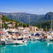 Port de Soller view with tramontana mountain in Mallorca - Stock Photo