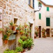 Majorca Valldemossa typical with flower pots in facade — Stock Photo #6835650