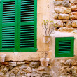 Majorca traditional wood windows mallorquina shutters — Stock Photo #6835988