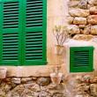 Majorca traditional wood windows mallorquina shutters — Stock Photo