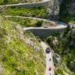 Winding road in mountain near Sacalobra in Mallorca - Stock Photo