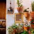 Majorca Valldemossa typical with flower pots in facade — Stock Photo #6836360