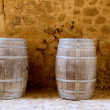 Barrels of wine built in oak wood from Spain - Stock Photo