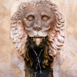Lion stone sculpture fountain in Son Marroig at Deia - Stock Photo