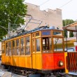Classic wood tram train of Puerto de Soller in Mallorca — Stock Photo