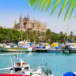 Majorca la Seu cathedral view from marina port of Palma — Stock Photo #6837414
