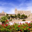 Majorca Cathedral and Almudaina from red flowers garden — Stock Photo #6837615