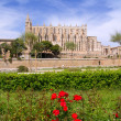 Majorca Cathedral and Almudaina from red flowers garden — Stock Photo #6837817
