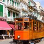 Classic wood tram train of Puerto de Soller in Mallorca — Stock Photo