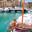 Puerto de Soller Port of Mallorca with lllaut boats - Stock Photo