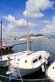 Alcudia Majorca port with llaut boats in marina — Stock Photo