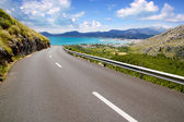 Curve of road in mountain with Pollensa view in Mallorca — Stock Photo